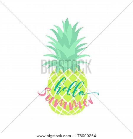 Vector illustration of tropical fruit pineapple. Fruit symbol