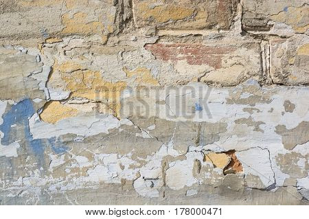 Close up of plaster textured background of obsolete demolished wall