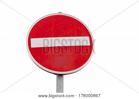 Round Red Sign No Entry Road Sign Isolated On White