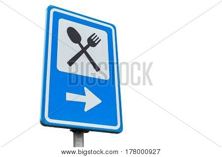 Dinning Service Road Sign Isolated On White