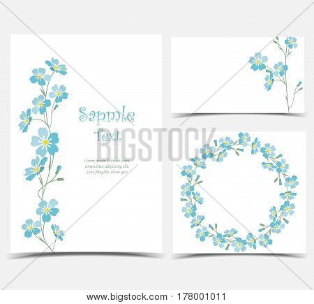 Set vector illustration blue flowers on the card. Branch of blue forget-me-not flowers