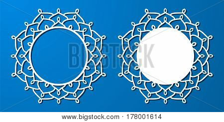 Vector Stencil Lacy Round Frame With Carved Openwork Pattern. Template For Interior Design, Layouts
