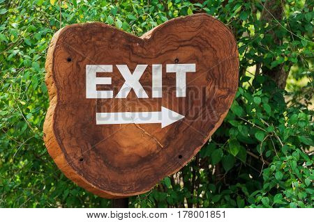 Closeup of outdoor exit sign on wooden surface with arrow and green trees in background