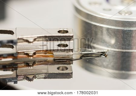 Inside Opened Pc Hard Disc Isolated Over White Background