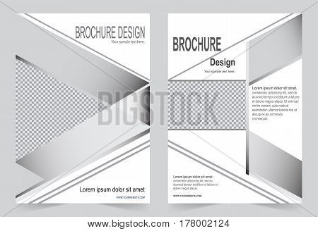 Silver color Brochure template flyer design abstract template for annual report magazine poster