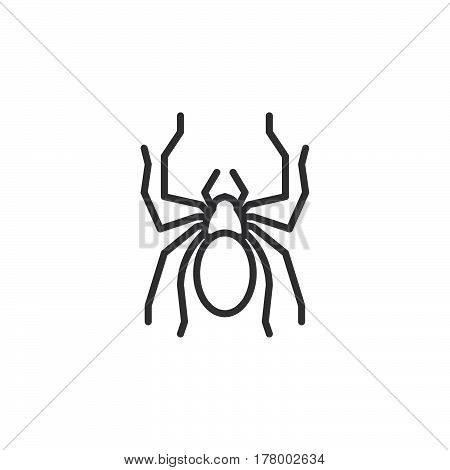 Spider line icon outline vector sign linear pictogram isolated on white. Symbol logo illustration