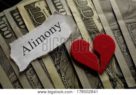 Broken heart with Alimony paper note on money
