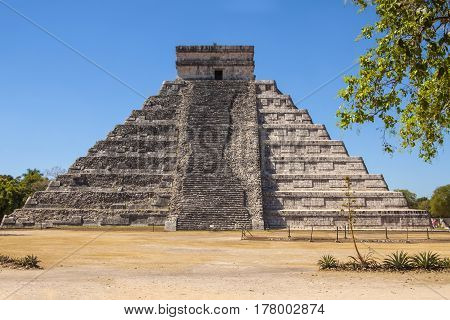 Mayan step pyramid at Chichen Itza in Yucatan province in Mexico a Unesco site