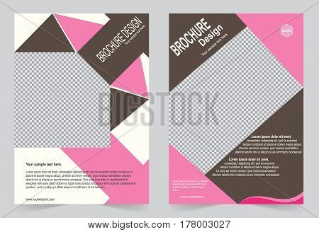 Pink and Brown Brochure template flyer design abstract template for annual report magazine poster