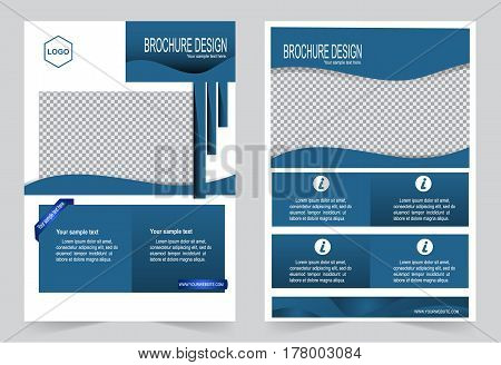 Navy Blue Brochure template flyer design abstract template for annual report magazine poster