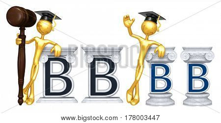 Education Lawyer Leaning On A Letter B The Original 3D Character Illustration