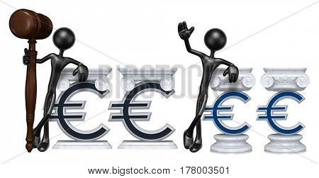 Education Lawyer Leaning On A Letter O The Original 3D Character Illustration