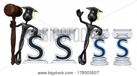 Education Lawyer Leaning On A Letter S The Original 3D Character Illustration