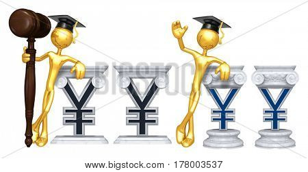 Education Lawyer Leaning On A Yen The Original 3D Character Illustration
