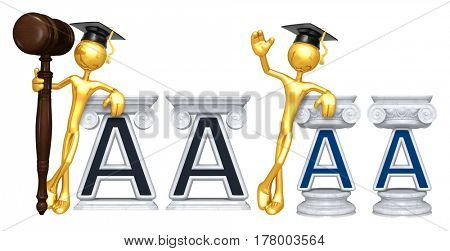 Education Lawyer Leaning On A Letter A The Original 3D Character Illustration