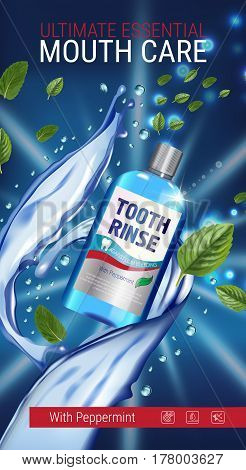Mouth rinse ads. Vector 3d Illustration with Mouth rinse in bottle and mints leaves. Vertical banner with product on dark background.