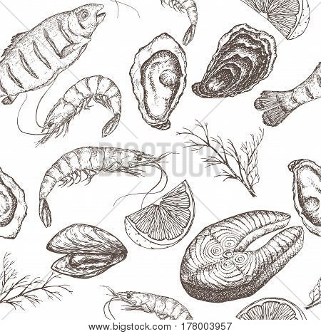 Hand drawn seafood vector seamless pattern with grilled fish, shrimps, oyster and mytilus, lemon and dill on white background. Great for restaurants, cafes, grocery stores, kitchen, food label design.