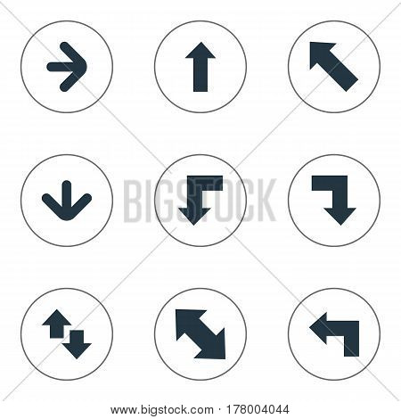 Vector Illustration Set Of Simple Arrows Icons. Elements Pointer, Right Direction, Slanted Arrow And Other Synonyms Right, Upper And Up.