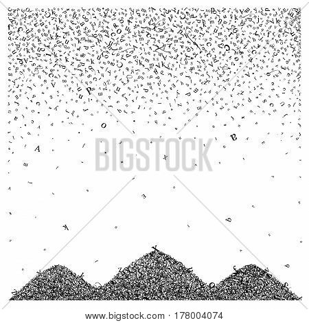 Abstract background of alphabet symbols. World book and copyright day. International Day of writer. International Day of the Book. World Book Day. Studying and learning concept. Vector illustration.