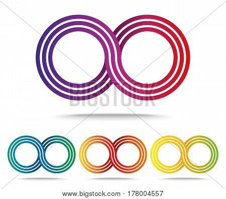 Set of colored Infinity sign icon isolated on white background. Logo template. Vector illustration
