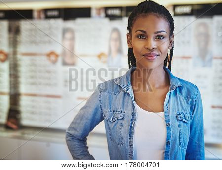 Lady With Satisfied Expression In Store