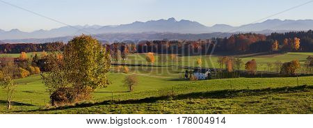Panoramic View To The Bavarian Alps And Foothills