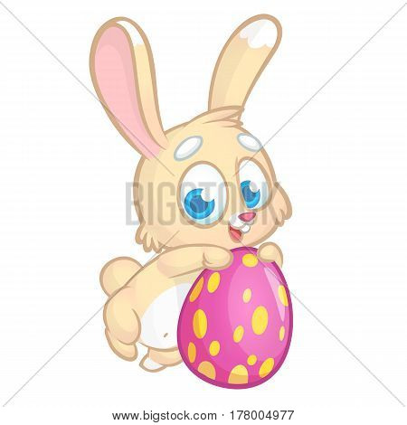 Easter Bunny rabbit holding a pink egg and smiling. Vector cartoon