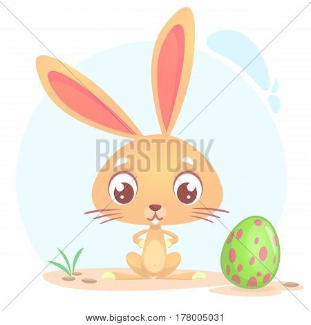Easter rabbit with egg. Cute cartoon illustration