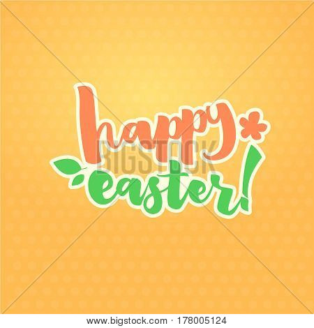 Easter Greetings Typographical Greeting Card. Hand Lettering Calligraphy Polka Dot Vector Illustration.
