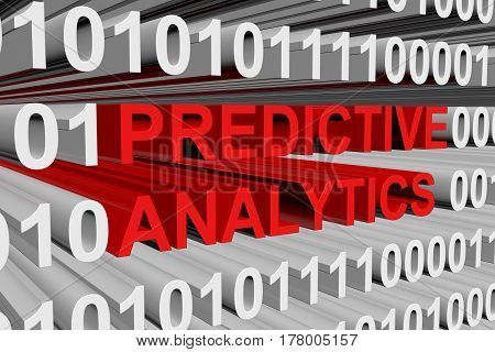 predictive analytics is presented in the form of binary code 3d illustration