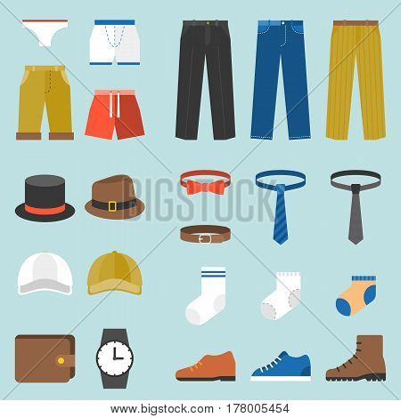 Male clothes fashion underpants, trousers and accessories, flat design