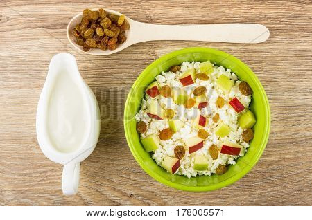 Cottage Cheese With Pieces Of Apples And Raisins, Sour Cream