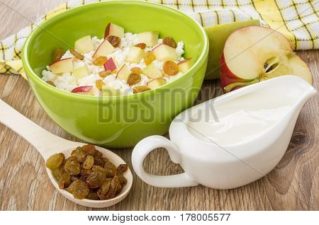Cottage Cheese With Apples And Raisins, Sour Cream And Spoon