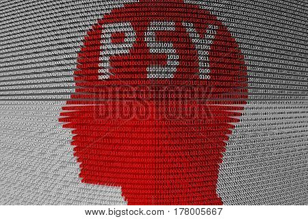 PSY in the form of binary code, 3D illustration