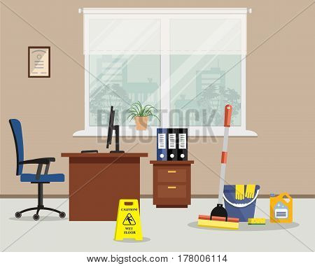 Cleaning in the office. Objects for cleaning in the room. There is a