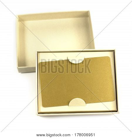 A photo of a blank VIP golden card in a gift box on a white background, with a place for text