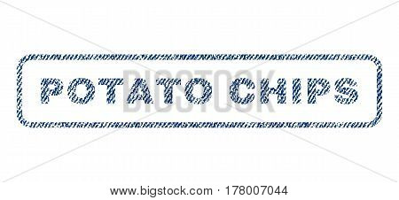 Potato Chips text textile seal stamp watermark. Blue jeans fabric vectorized texture. Vector tag inside rounded rectangular banner. Rubber sticker with fiber textile structure.