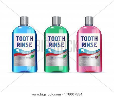 Mouth rinse in different colors of bottles. Vector illustration of realistic bottle of mouth rinse on white background.