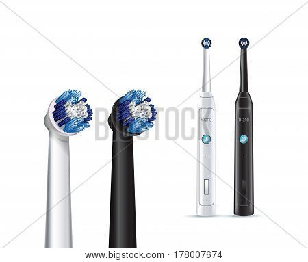 Electric toothbrush. Vector illustration of realistic brush and whole electric toothbrushes on white background.
