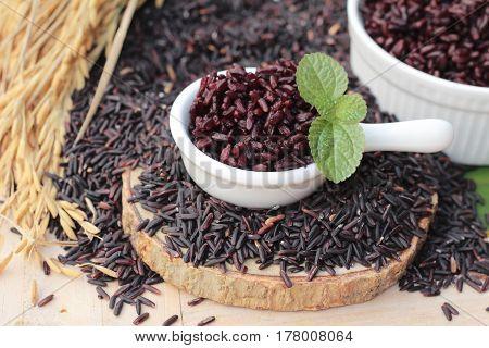 cook black rice and raw organic riceberry rice