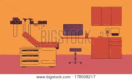 The doctor's office with a comfortable couch and chair