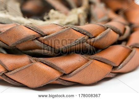 Leather Whip Isolated Over White Background Closeup Macro