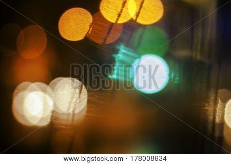 Night city street lights background and street lights blur bokeh