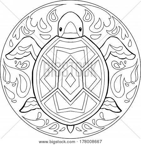 Decorative vector coloring mandala with turtle in the water.