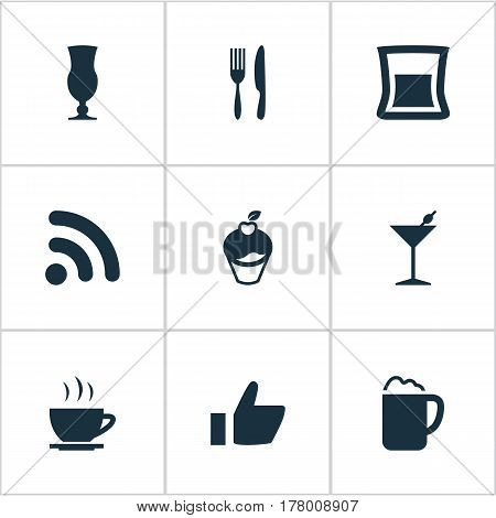 Vector Illustration Set Of Simple Restaurant Icons. Elements Muffin, Martini, Favorite And Other Synonyms Dessert, Hot And Martini.