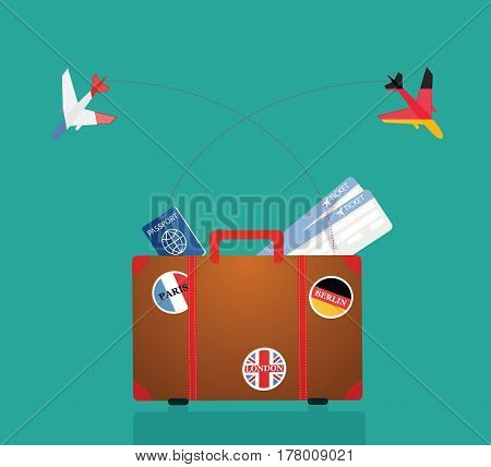 Travel Suitcase With Stickers. Vector