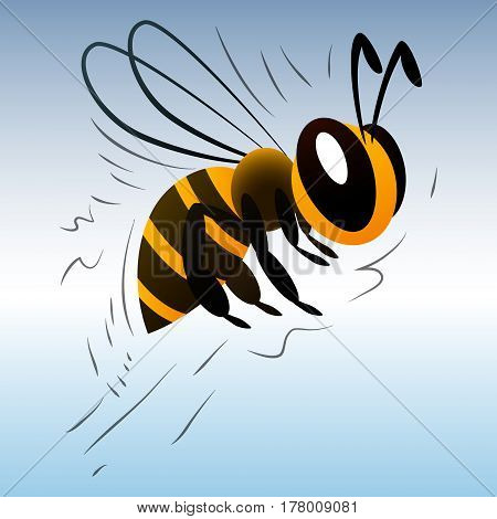 cartoon bee on a white background. vector illustration