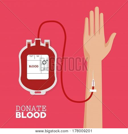 donate blood hand with tube vector illustration eps 10