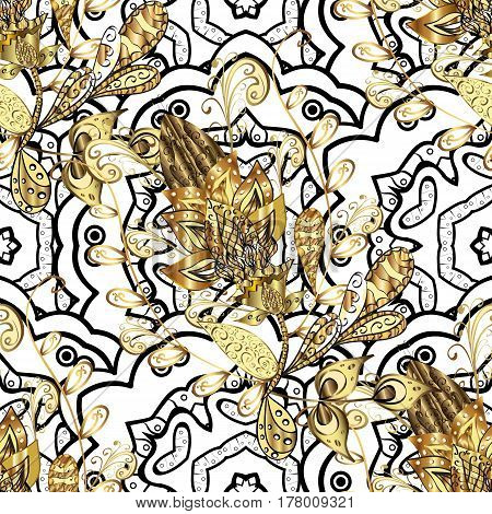 Traditional classic golden vector pattern on yellow background with golden elements. Oriental ornament in the style of baroque.