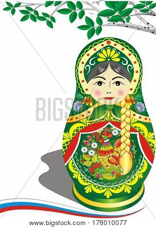 Russian doll in green outfit. Brunette. The branch of a birch. Folklore. Vector illustration